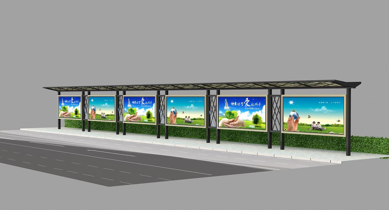 昆明公交站台在现场安装施工中