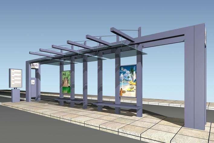 济宁某路段公交站台已投入使用