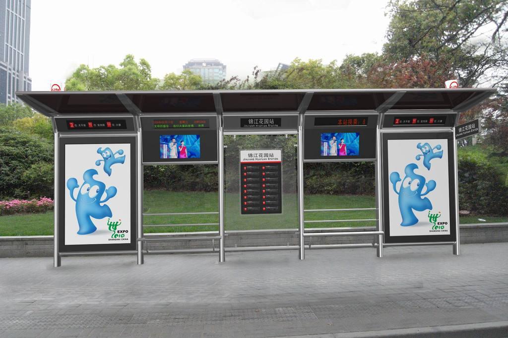 福建不锈钢公交站台已安装完毕